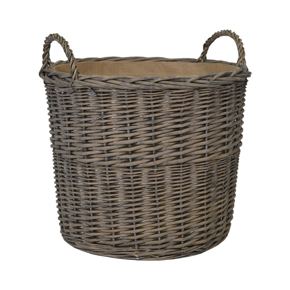 Wicker Medium Round Storage Log Basket with Jute Liner in Grey Wash Dia46 x H46cm/ Toy Box/Wicker Bin Wovenhill