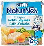 Nestlé Bébé Naturnes Les Sélections Petits Légumes Colin d'Alaska - Plat Complet dès 6 Mois - 2 x 200g - Lot de 4