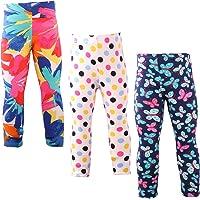 Snyemio Pantalones Leggings Estampado Elásticos Stretch Medias para Niña 2-13 Años Paquete de 3