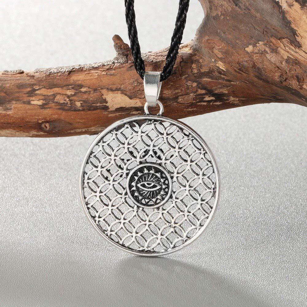 Vintage Egypt Hollow Round Necklace For Women Men Sun Eye Retro Ethnic Jewelry Rope Choker Boyfriend Gift