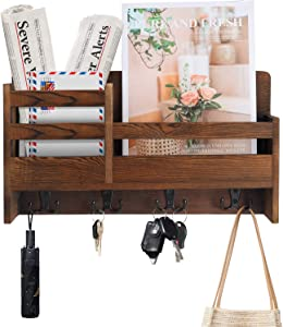 MASTLU Wall Mounted Mail Rack Key Holder Wooden Mail Envelope sorter Organizer with 4 Double Key Hooks and 2 Floating Shelves for entryway, Hallway, Living Room Perfect for Home Decor