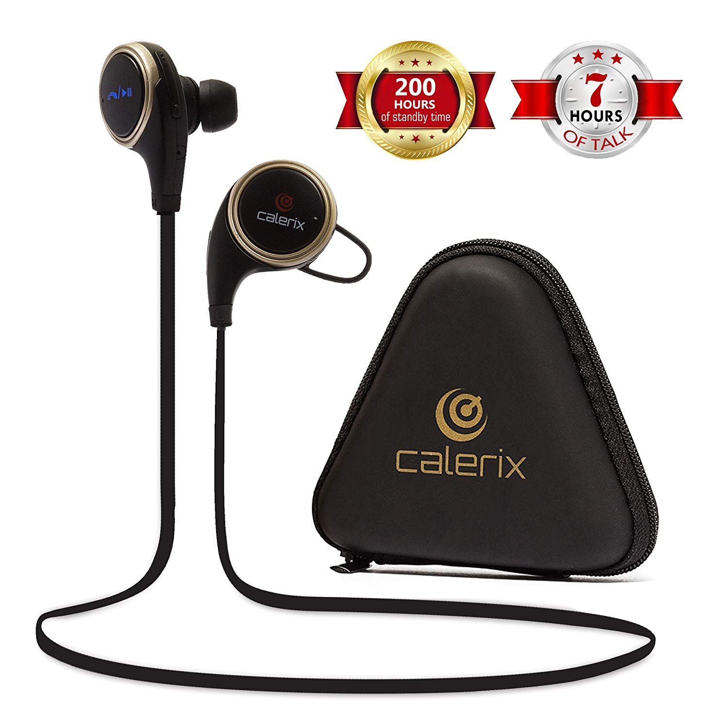 Bluetooth Headphones 4.1 Wireless Calerix, with Sweat Proof, Noise Cancelling Technology – Lightweight Sport In-Ear Earbuds with Built-In Microphone – Connect to iOS, Android (Black/Golden)