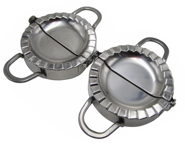 Stainless Steel Ravioli/Pierogi/Dumpling Mold Maker Wrapper Pastry Dough Cutter L+S Size (4'' x 2pcs)