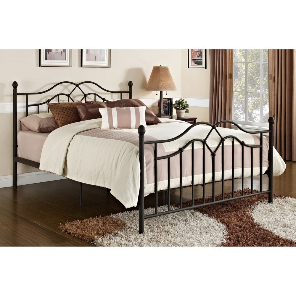amazoncom dhp tokyo metal bed classic design includes metal slats queen bronze kitchen dining - Queen Bedroom Frames