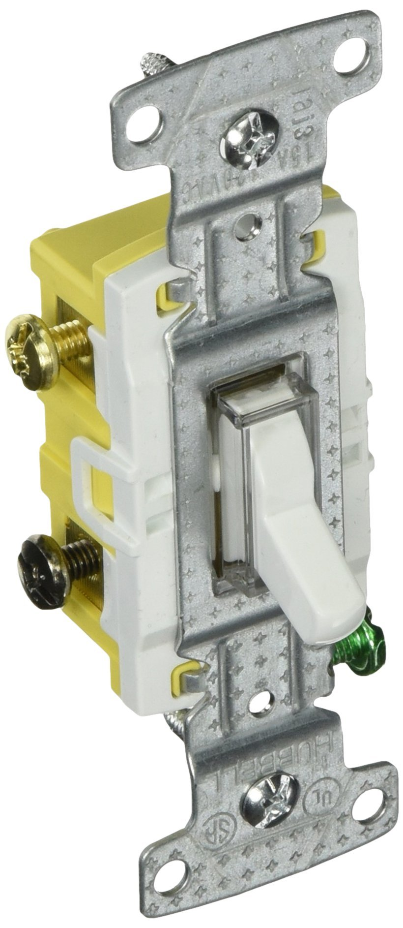 Bryant Electric RS315ILW Residential Toggle Switch, Three-Way, Illuminated, 15 Amp, 120V, Grounding, White by Bryant Electric