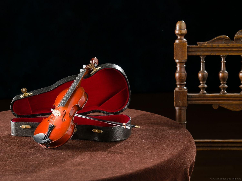 Miniatur Geige Violine mit Bogen und Koffer zur Dekoration im antik Stil