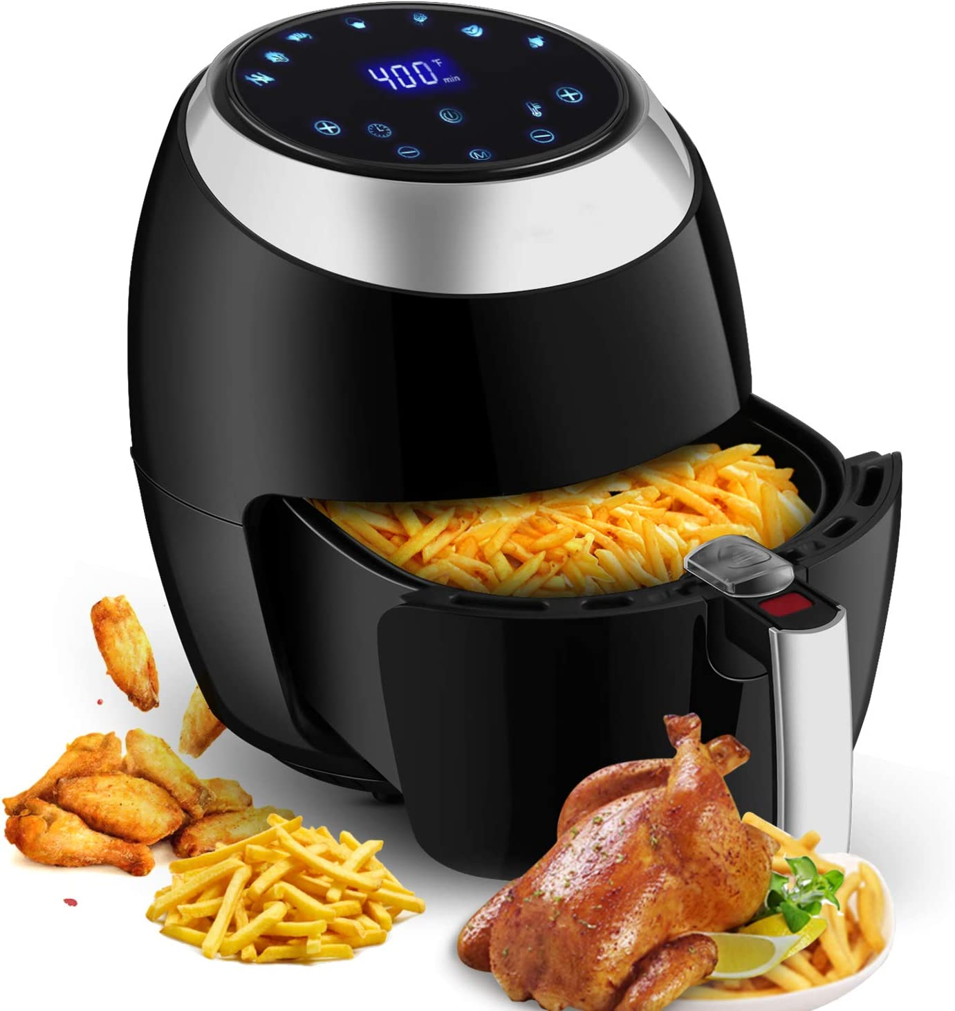 Air Fryer 6.5L, 1800W Air Cooker Electric No Oil Smoke Fries Meat Electric with Digital Touchscreen