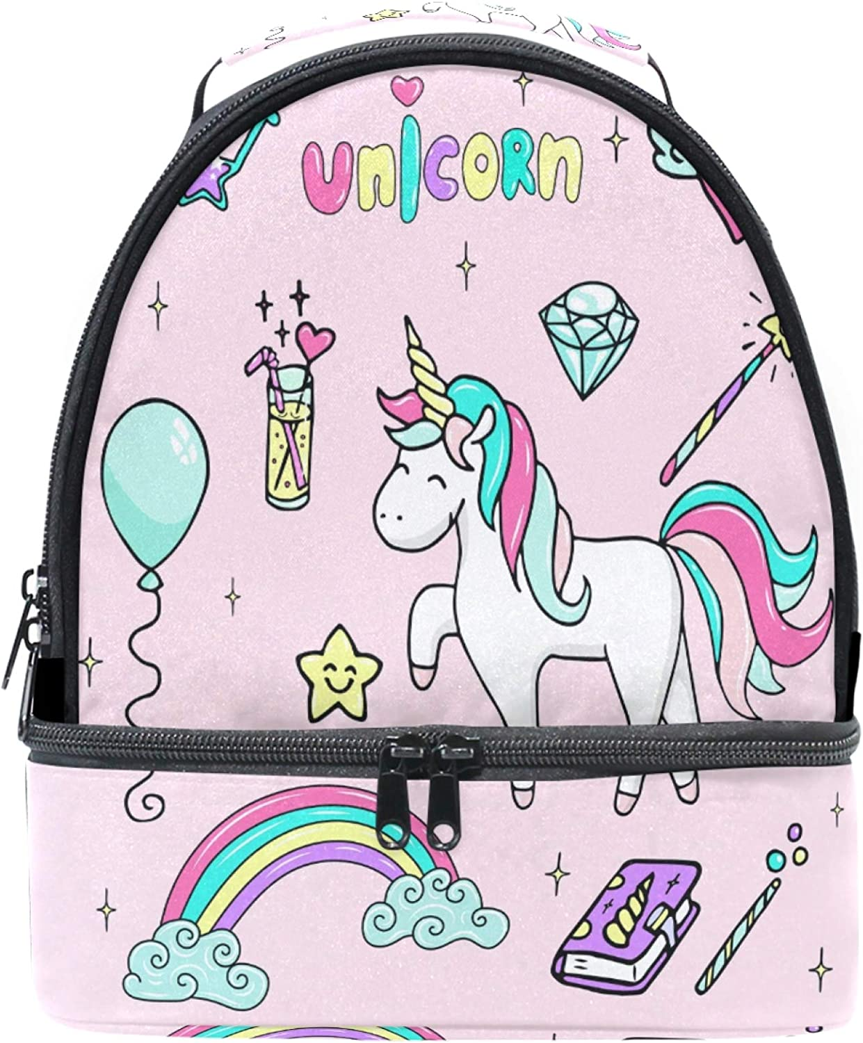 Naanle Cartoon Cute Unicorn with Love Rainbow Double Decker Insulated Lunch Box Bag Waterproof Leakproof Cooler Thermal Tote Bag Large for Men Women Youth