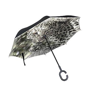Mnsruu Paraguas invertido de Doble Capa con Forma de Leopardo Africano y protección contra el Viento
