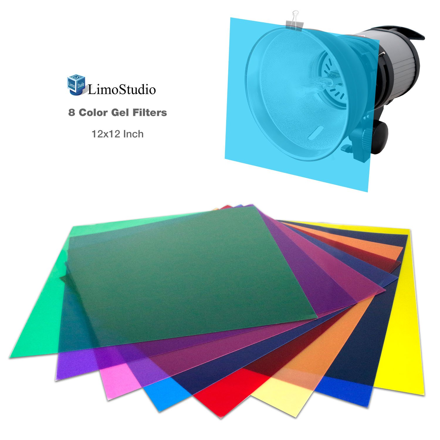 LimoStudio 12'' x 12'' 8pcs Color Gel Lighting Filter Transparent Color Film Plastic Sheets for Camera Flash Light , AGG2555 by LimoStudio
