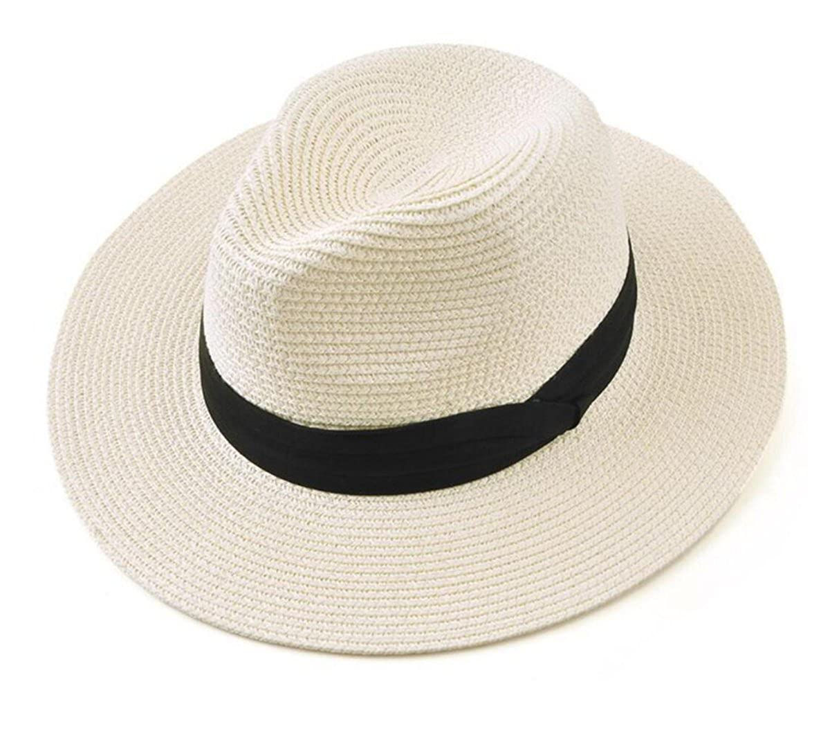 Tomily Women's Panama Hat Foldable Packable Straw Beach Summer Fedora Sun Hat (Beige) MZS2-2