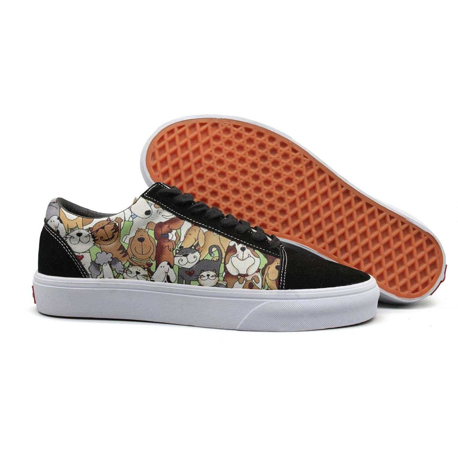 Pheomg Womens All Kinds of Dogs Spring Casual Slip-on Canvas Shoes Cute Casual Shoes Sneakers