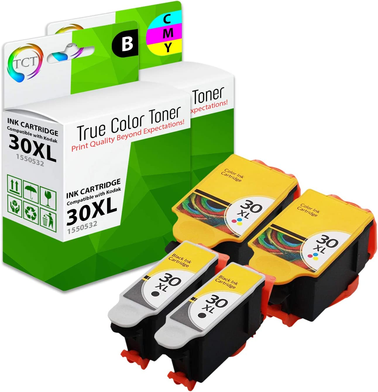 TCT Compatible Ink Cartridge Replacement for Kodak 30XL 30 XL High Yield Works with Kodak ESP C110 C310 C315, Office 2150 Printers (Black, Tri-Color) - 4 Pack