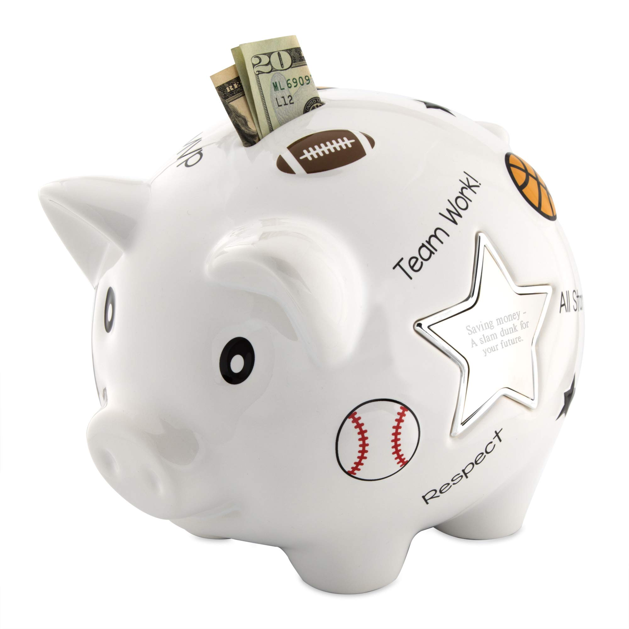 Things Remembered Personalized Sports Piggy Bank with Engraving Included