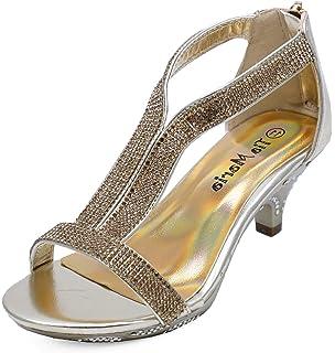322f78567893 HeelzSoHigh Girls Childrens T-Bar Peeptoe Gold Diamante Low-Heel Sandals  Pretty Party Dress