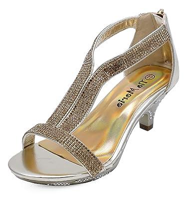 dc11fd21f Girls Childrens T-Bar Peeptoe Gold Diamante Low-Heel Sandals Pretty Party Dress  Shoes