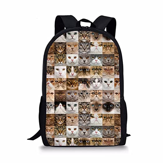 9d8e7d2a214b Instantarts Personalized Cat Puzzle Child School Backpack
