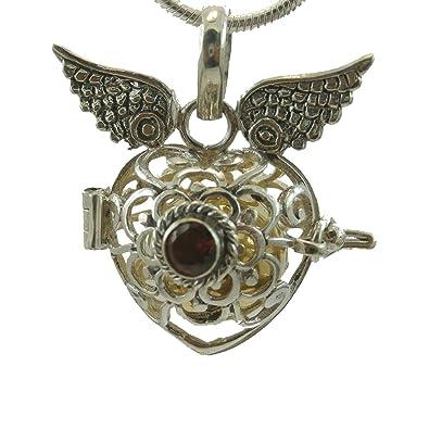 KASKOTE-Colgante llamador de ángeles con alas en forma de corazón. Disponible en diferentes piedras semipreciosas.
