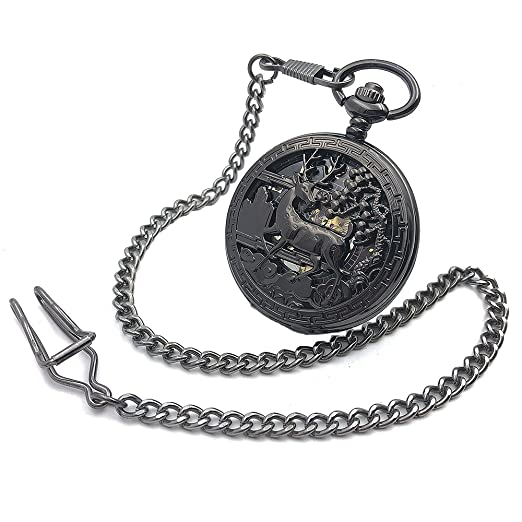 e9e7e3343 Image Unavailable. Image not available for. Color: CAIFU Luxury Brand Black  Deer Case Arabic Number Dial Hand Wind Mens Mechanical Pocket Watch w