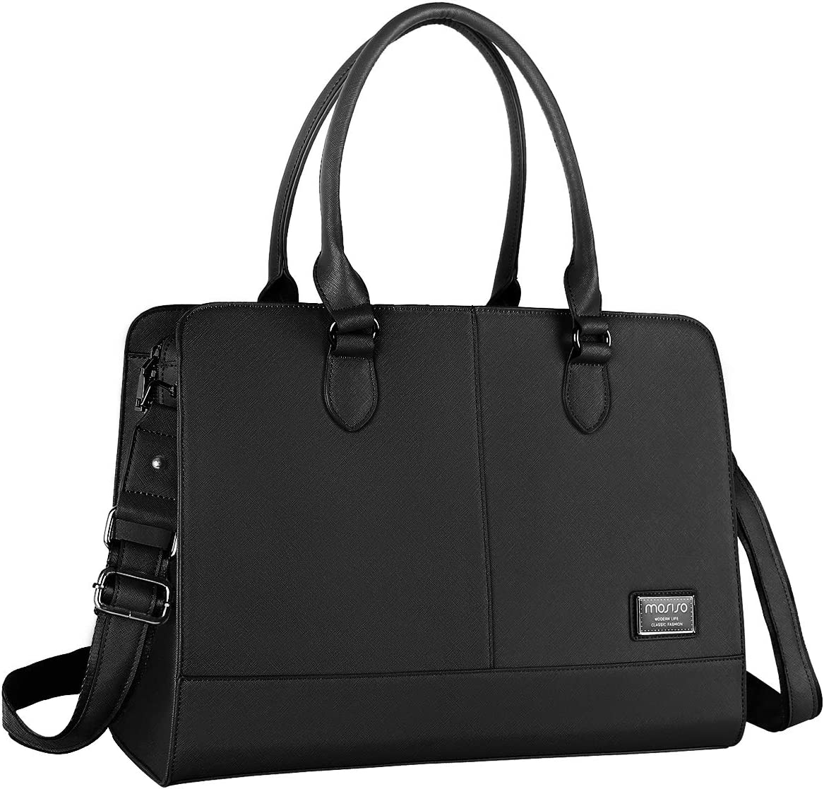 MOSISO Women Laptop Tote Bag (Up to 15.6 inch) 3 Layer Compartments, Black
