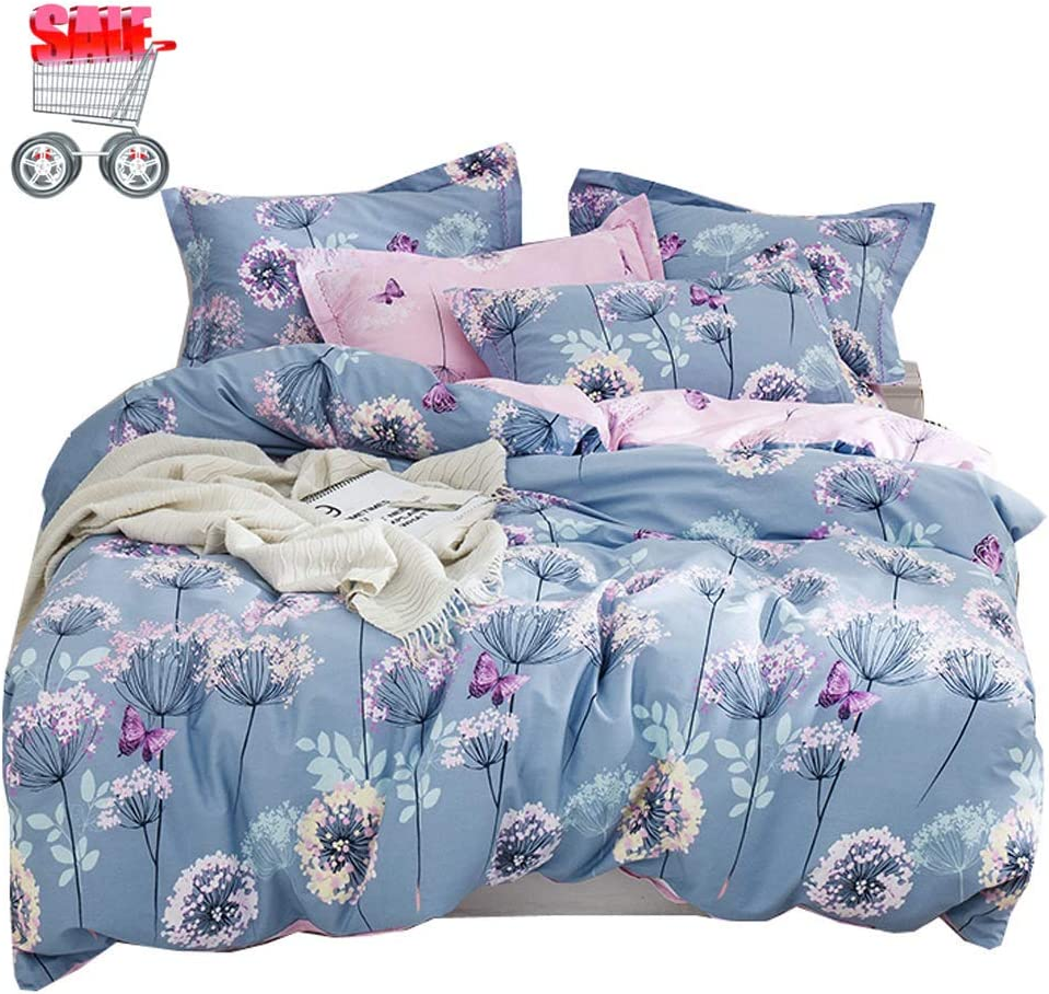 Duvet Cover Cotton Bedding Set Purple and Pink Dandelion Reversible Comforter Cover Set - Ultra Comfy, Breathable, Zipper Closure - Cute Style