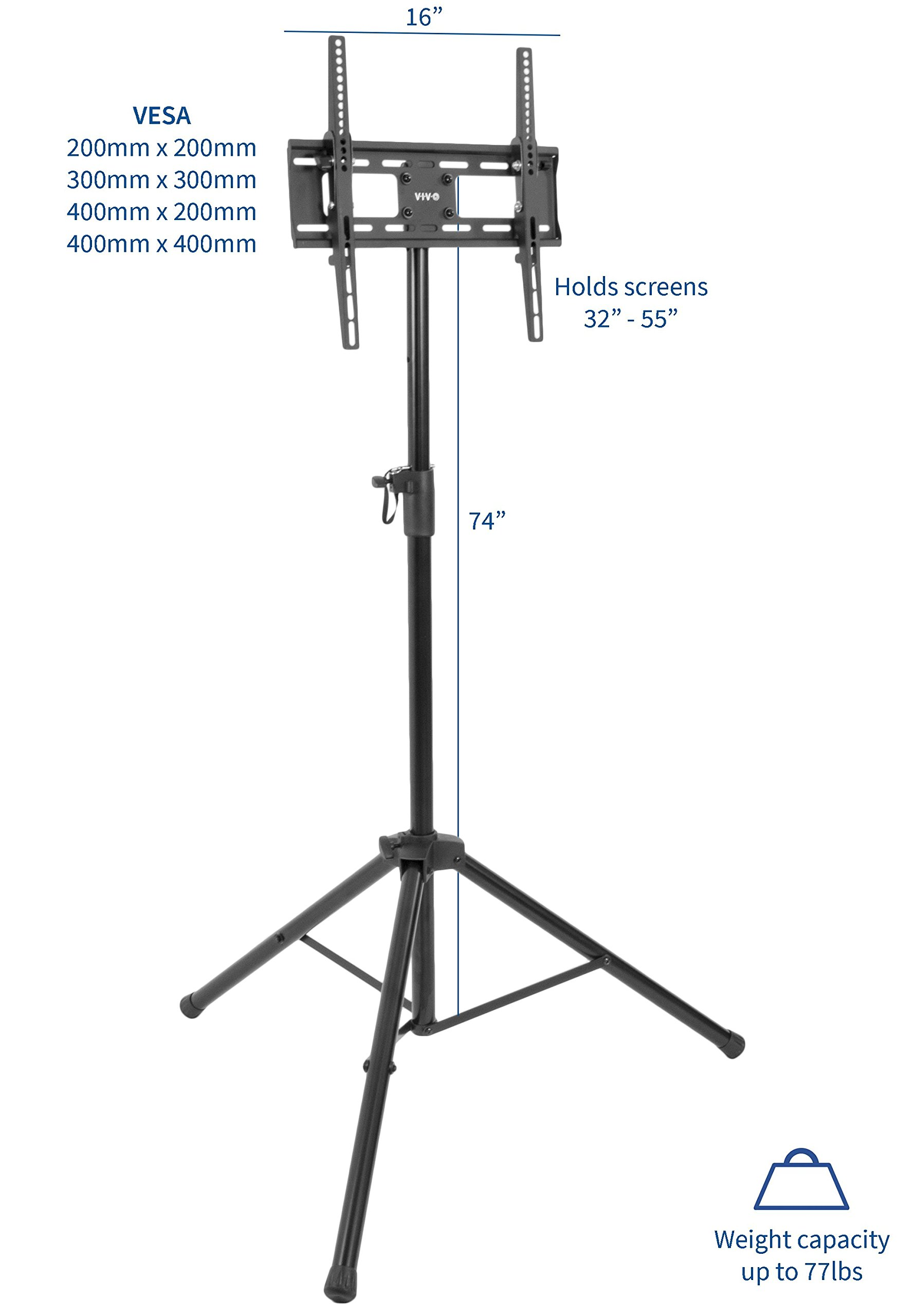 VIVO Black Tripod TV Display Portable Floor Stand Height Adjustable Mount for 32'' to 55'' Flat Screens (STAND-TV55T) by VIVO (Image #2)