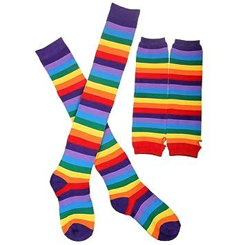 Tinksky Rainbow Stripe Arm Warmer Jambes Stockage Color/é Cuisse Haute Chaussettes Mitaines Mitaines Set pour Femmes Filles Carnaval Party Props