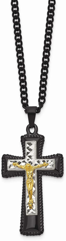 Bonyak Jewelry StainlessSteel Black /& Yellow IP-Plated w//Silver IP Brass Crucifix Neckla