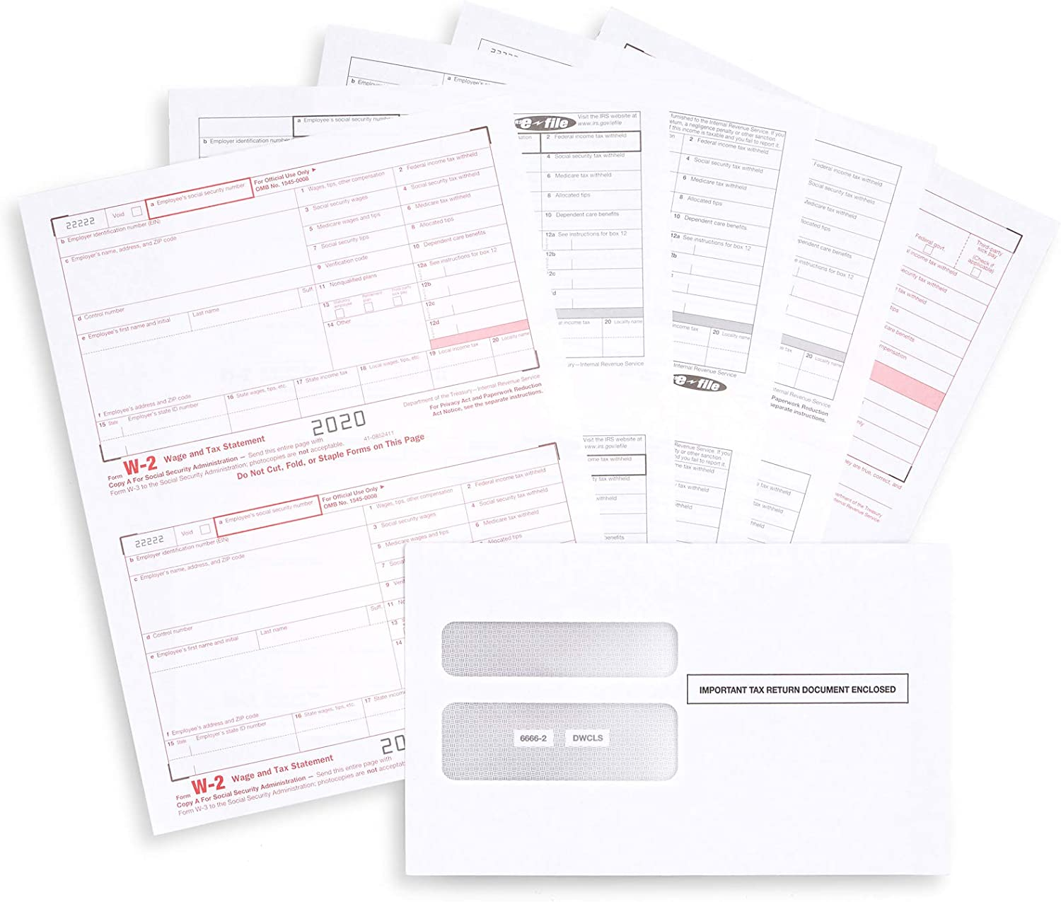 W2 Forms 2020, 6 Part Tax Forms, 50 Employee Kit of Laser Forms, Compatible with QuickBooks and Accounting Software, 50 Self Seal Envelopes Included