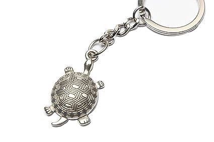 b1f3bfa88b Amazon.com : Ancient Silver Turtle Keychain, Land Turtle Keyring ...