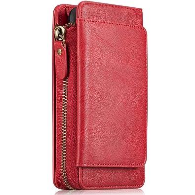 HARRMS iPhone 6 6S Handy Hülle Leder Case mit Kartenfächer Geldscheinfach  mit Reißverschluss Abnehmbar Magnet 4720173e47