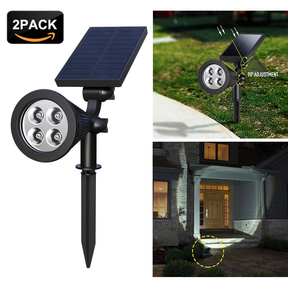 【Upgrade】 Solar Spotlights,4-LED Solar Landscape Lights 180 ° Adjustable Waterproof Outdoor Security Lighting 2-in-1 Solar Spotlight Auto On/Off for Backyard Driveway Patio Gardens Lawn Pool (2 Pack)