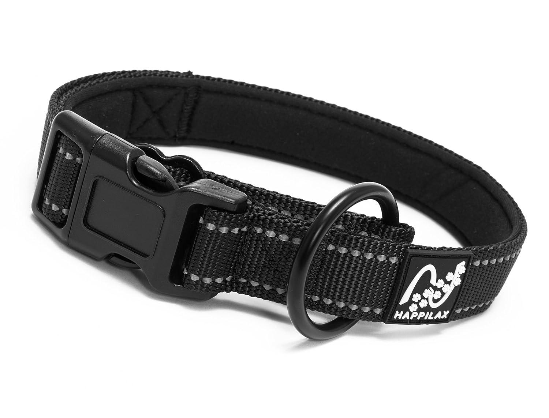Sicuro e Riflettente con Scarico della trazione Imbottito Regolabile Nero Happilax Collare per Cani di Taglia Grande e Grossa