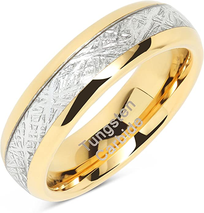 TIGRADE 4mm 8mm Titanium Couple Ring Wedding Band with 9 CZ Inlay Size 4-13
