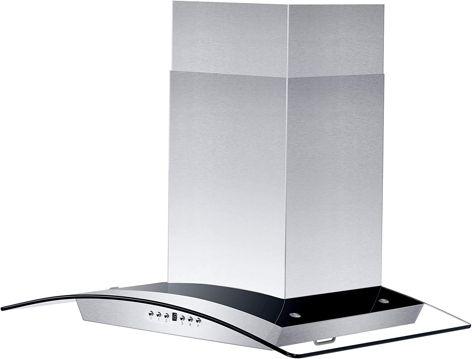 "30"" Stainless Steel Wall Mount Range Hood w/Glass & Baffle Filters"
