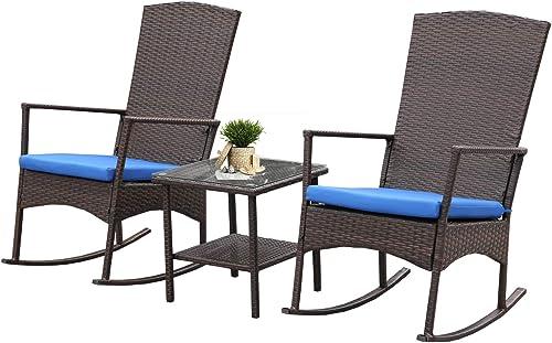 Rattaner Outdoor 3 Piece Wicker Rocking Chair Set Patio Bistro Set Conversation Furniture