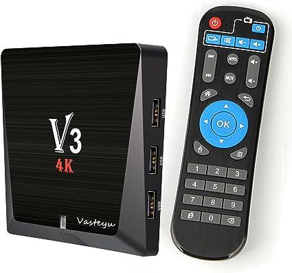 Android 6.0 TV Box, Vasteyu V3 Rockchip 3229 Quad-Core Smart TV Box WiFi 2G/8G con Ultra HD 4K 60fps H.265 Streaming Media Player: Amazon.es: Electrónica