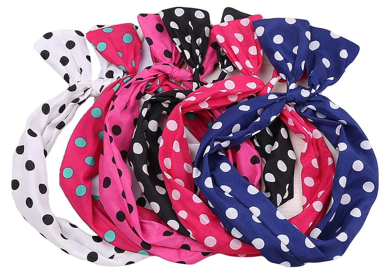 Qiabao Womens Polka Dots Wired Bow Twist Headband Assorted Pack of 5/10