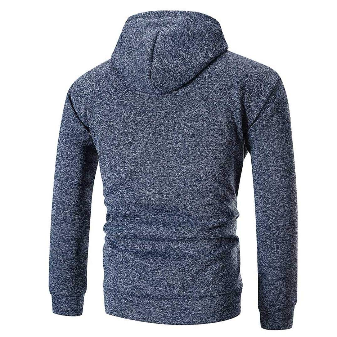 Men's Long Sleeve Solid Hoodie Hooded Sweatshirt Outwear Top Tee Blouse,PASATO Classic Clothes(Navy, XL)