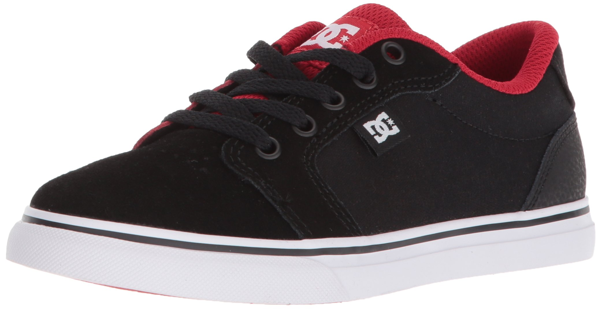 DC Youth Anvil Skate Shoe, Black/Red, 10.5M M US Little Kid