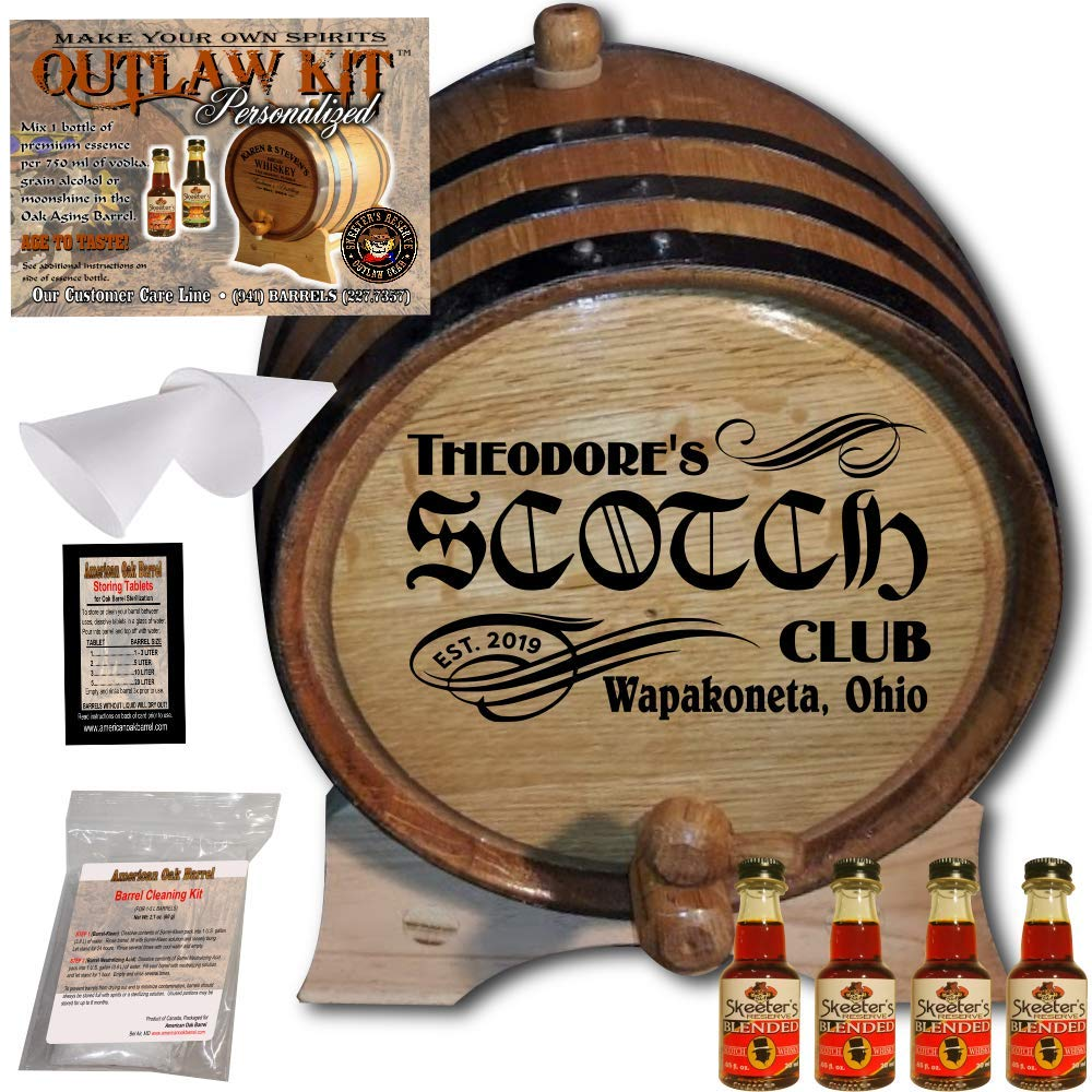 Personalized Whiskey Making Kit (201) - Create Your Own Blended Scotch Whiskey - The Outlaw Kit from Skeeter's Reserve Outlaw Gear - MADE BY American Oak Barrel - (Oak, Black Hoops, 3 Liter)