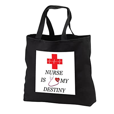3dRose Sven Herkenrath Quotes - Nurse Is My Destiny Red Cross Heart Heartbeat Quote Phrase Trendy Work - Tote Bags