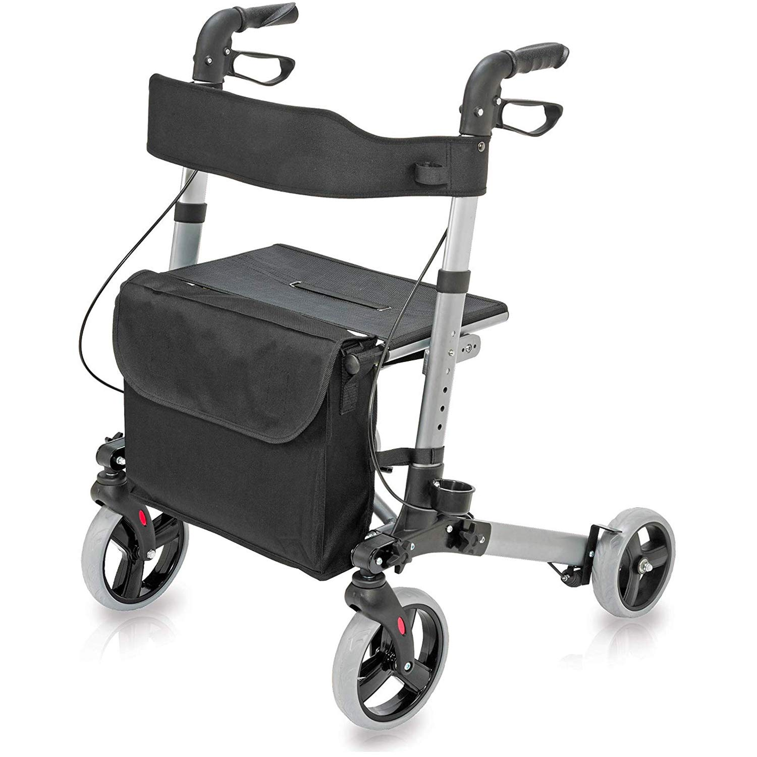 HealthSmart Rollator Walker with Seat and Backrest, Adjustable Handle Height, Removable Storage Bag and a Durable Lightweight Frame That Easily Folds While Supporting up to 300 pounds, Titanium by HealthSmart