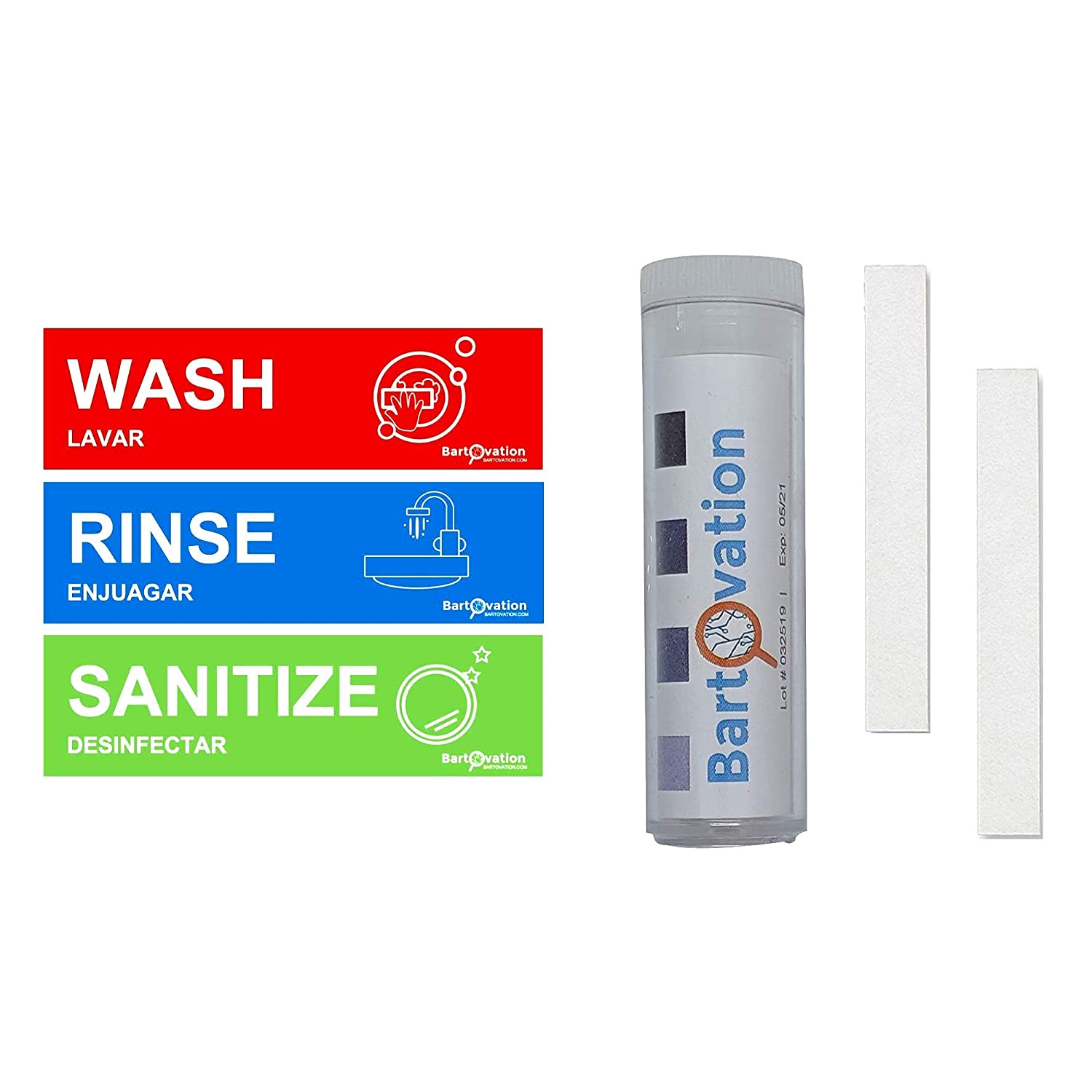Chlorine Testing Strips with Rinse Wash Sanitize Heavy Duty Vinyl Labels for Food Service Compliance