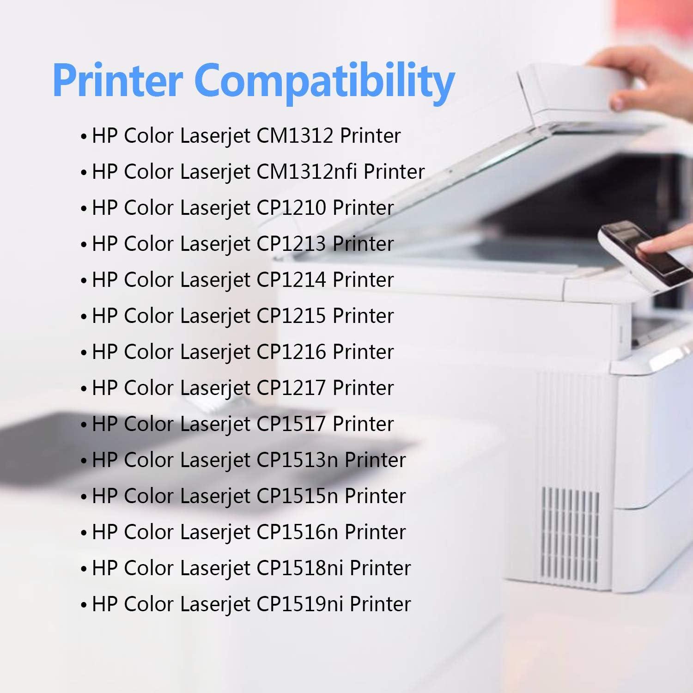 CMTOP - Cartucho de tóner Compatible para HP 125A (Compatible con HP Color Laserjet CM1312nfi CP1215 CP1518ni CP15n CM1312 CP1513n CP1516n Prither, 5 Unidades, 2 Negro, 1 Cian, 1 Magenta, 1 Amarillo): Amazon.es: Electrónica