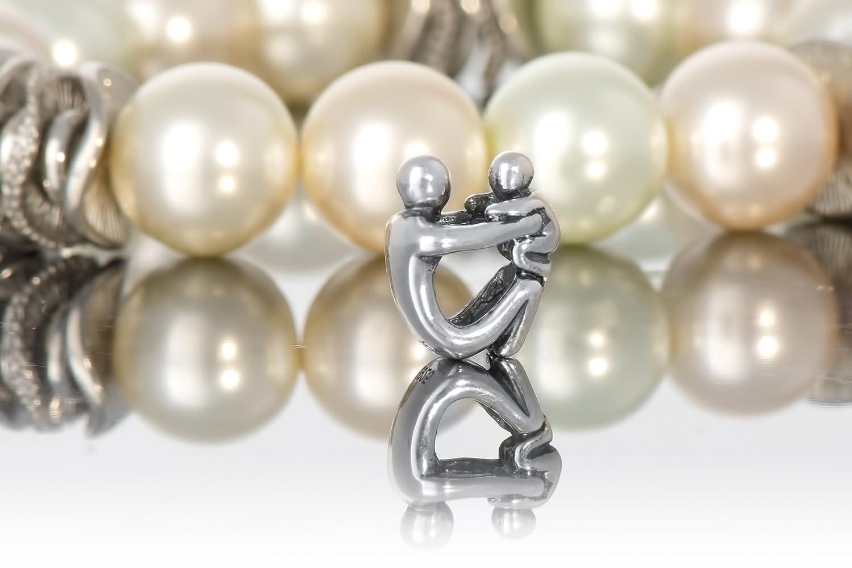 Andante-Stones Argento massiccio Sterling 925 originale Perlina Bead simbolo Genitore Antico Ciondolo da donna Charm per bracciali e collane europei sacchetto di organza