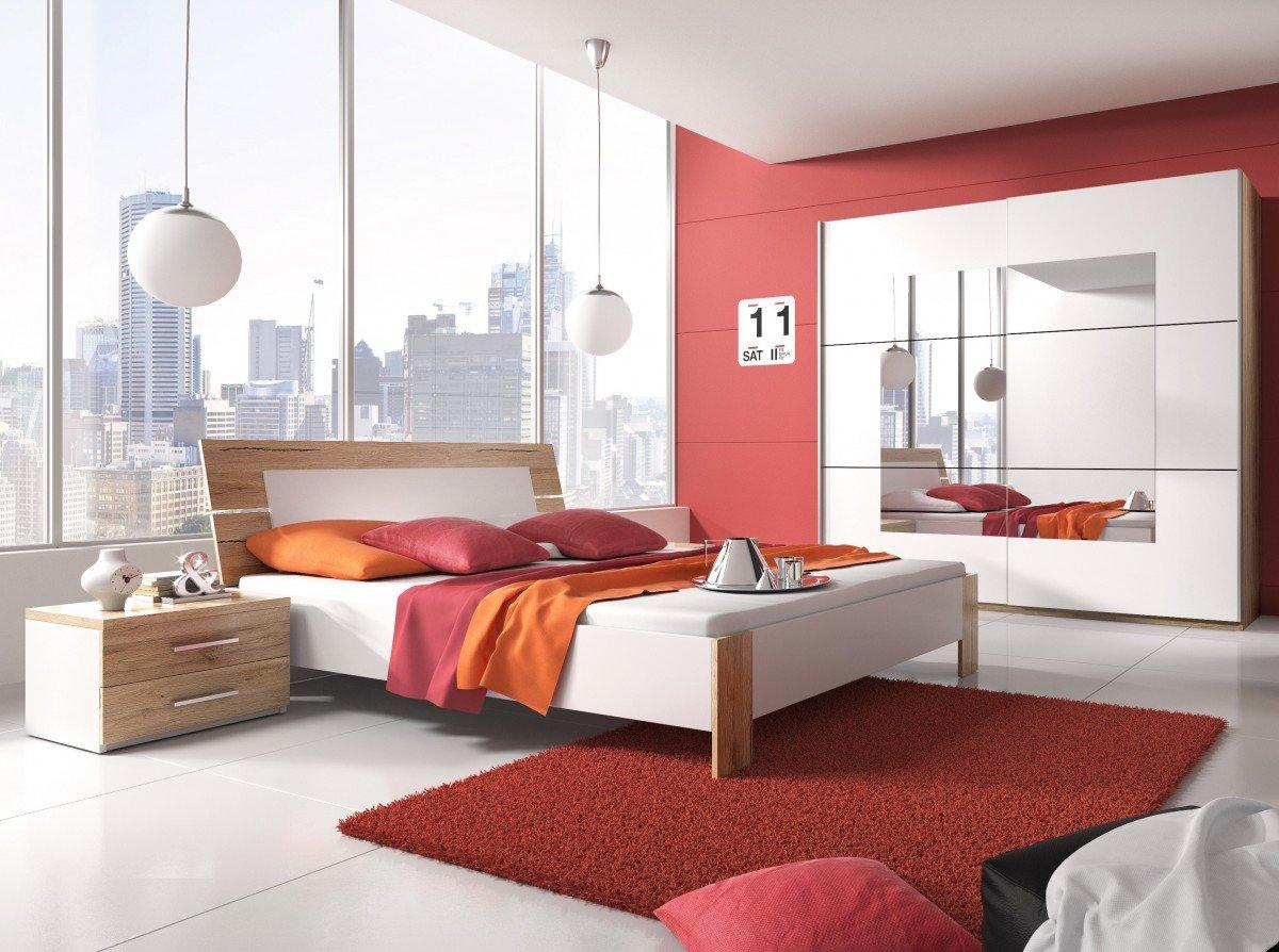 Dreams4Home Schlafzimmer Set 'Jaden' - Schwebetürenschrank, 2x NaKo´s, Bett , 1 Kleiderstange, 5 Einlegeböden, ohne Matratzen, ohne Lattenrost, Schlafzimmer komplett, in San Remo Eiche hell / weiß