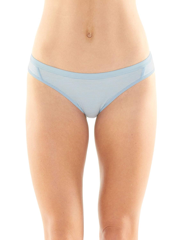 Sky//Snow//Stripe Icebreaker Merino Womens Siren Bikini Medium