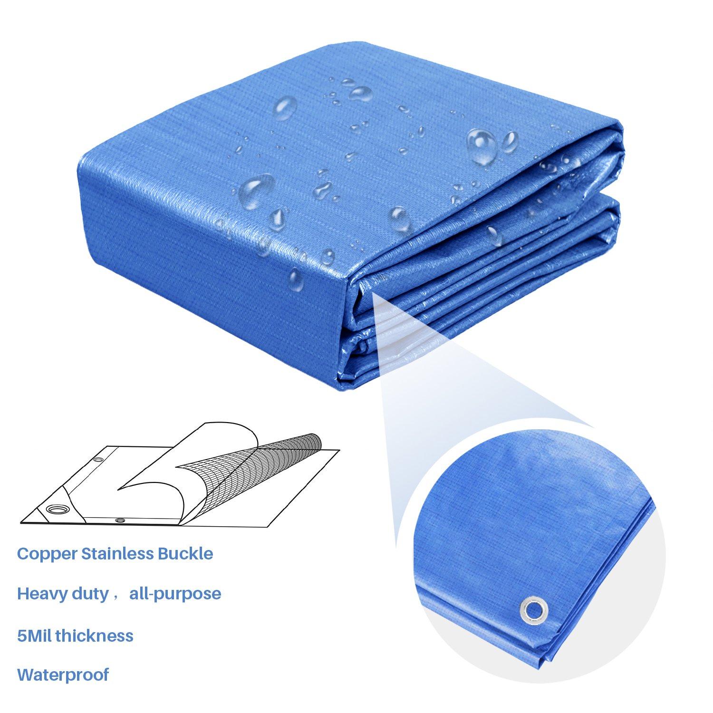 Blue E/&K Sunrise 10 x 14 Finished Size General Multi-Purpose Tarpaulin 5-mil Poly Tarp