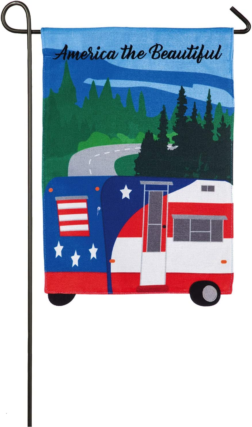 Evergreen Flag America The Beautiful Camper Double Sided Garden House Flag - 13 x 18 Inches Fade and Weather Resistant Outdoor Flag for Homes, Yards and Gardens